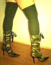 Army Green Cable Knit Over The Knee Socks XL OTK Boot High Women Men Unisex Soft