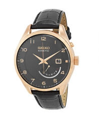 NWT Men's Seiko SRN054 Rose Gold Black Leather Kinetic Day/Date Dial Watch