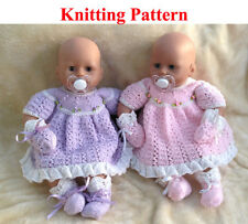 """Knitting pattern for 15-18 """" doll or newborn baby Dress Mittens Bootees"""