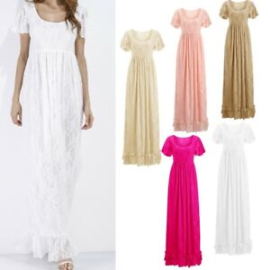 Maternity Long Dress Pleated Lace Gown Photography Wedding Formal Baby Shower