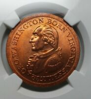 (1959) B-22B Washington Born Virginia Copper Medal Collis Restrike - NGC MS65 RD