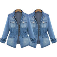 NEW Plus Size Casual Womens Ladies Denim Oversize Jeans Chain Jacket pocket Coat