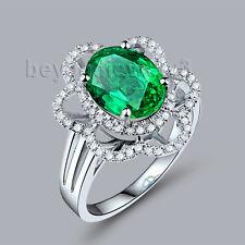 Unique 18K White Gold Engagement Wedding Real Diamond Emerald Gemstone Ring