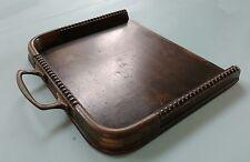 Bandeja recogemigas madera vintage con mango de cobre y protectores de esquina de cobre