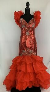 Alyce Designs Vintage 80s Red Sequin Mermaid Pageant Prom Party Dress size 14