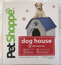 New listing Pet Shoppe Dog House with Bone Toy Small Breed Dogs 18x17x16 Home Travel, New!