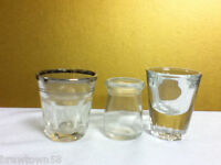 Set of three assorted plain shooter shot glass glasses pub bar tavern BN9