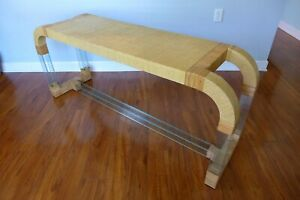 Grasscloth and Glass Waterfall Console Table Hollywood Regency Rattan Mid Centur