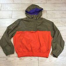 RARE Vintage Tommy Hilfiger Pullover 1/2 Zip Hooded Jacket Mens Size Large LOGO