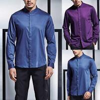 Mens Satin Silk Dress Shirt Long Sleeve Slim Business Formal Casual Tops Elegant