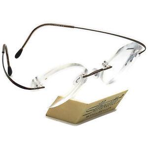 Silhouette Eyeglasses Brown Rimless Metal Frame Austria 48[]19 130