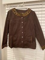 Womens Quacker Factory Jacket Size Medium Jeweled Brown