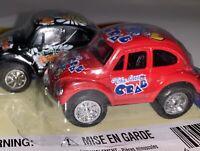 Vintage Volkswagen Beetle Die Cast Metal Car Toy Red Black Crab Butterfly NEW