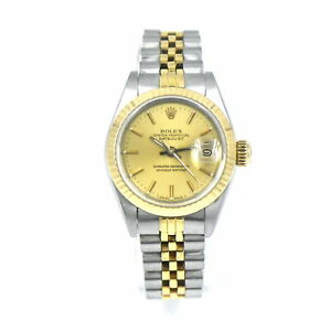 ROLEX OYSTER PERPETUAL LADIES DATEJUST 69173 WRISTWATCH 18K GOLD STAINLESS c1987