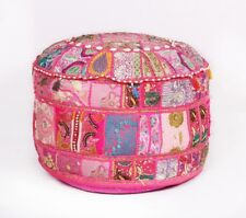 Indian Traditional Bohemian Pouf Cover Patchwork Ottoman Round Pouffe