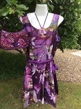 Ladies Wedding Party Minuet Petite Dress Cotton Silk Purple Floral Size 18 BNWT