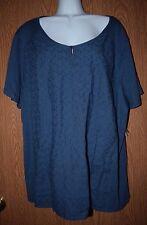 Womens Pretty Denim Blue Embroidered NorthCrest Short Sleeve Shirt Size 1X NWT