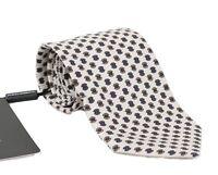 NEW $220 DOLCE & GABBANA Tie White 100% Silk Pattern 7cm Wide Necktie Accessory