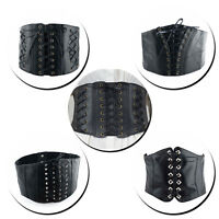 Ladies Black Corset Waist Belt Womens Wide Leather Stretchable for Fashion Party