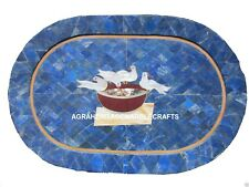 "11""x17"" Decorative Marble Tray Pigeon Oval Mosaic Lapis Lazuli Home Decor Gifts"