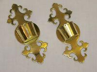 C1870 ANTIQUE VICTORIAN PAIR OF CAST BRASS WALL POCKETS SPILL MATCH HOLDER BOXES