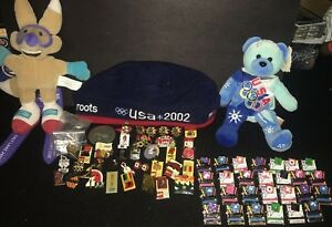 1980-02 Summer Winter Olympics Lot Pins Plush Bear Mascot Roots Beret Program