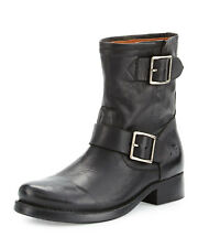 Frye VICKY Engineer Flat Short Zipper Side Boots Ankle Bootie Riding Shoe 7.5