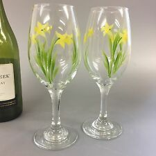 Pair of hand painted Wine Glasses Daffodil Design
