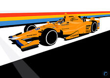 Alonso INDY 500 (A3) print by racinglinedesigns-INDYCAR