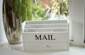 Letter Magazine Envelope Mail Rack Entryway/Kitchen Holder with Sliding Drawer