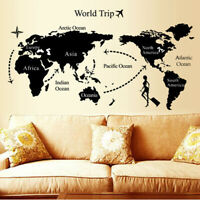 Large Size World Map Wall Stickers Black Map of The World Home Decor Wall DecaFR
