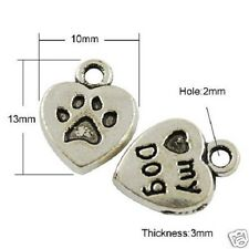 10 Tibetan Silver Love My Dog Charm Heart Paw