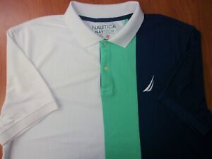 Nautica NavTech Performance Big Sailboat Logo Casual Golf Polo Shirt XXL ~NEW~