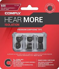 Comply T-600 Isolation Foam Soft Ear Tips Earbud Earphone Black Headphone Pack 3