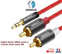 RCA Câble 2RCA à 3.5 Câble Audio RCA 3.5mm Jack RCA AUX Câble 5M