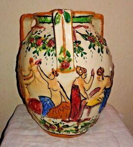Vintage Pottery/Porcelain 3-Handled Vase, Capodimonte-Style