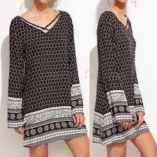 ZANZEA AU Boho Women Casual Floral Print Long Sleeve Mini Short Dress Tops Shirt