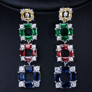 Multi Color CZ Women Party Long Sqaure Drop Dangle Earring Fashion Brand Jewelry