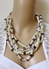 Halsschmuck Kette Halskette Metallkette silberfarben weiß lila Perlen Strass