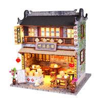 1/24 DIY Miniatur Puppenhaus Kits Teehaus Mit Möbel LED Licht Zugang