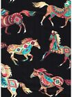 Black Wild Rag with Horses Western Cowboy Bandana Buckaroo Scarf 100 % Silk