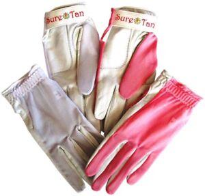 4 Sure Tan Cabretta Leather Sun Golf Glove 3 Sizes Ladies Small Medium Through
