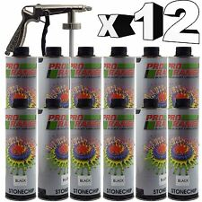 Pro Range 12 x 1 Litre Black Stone Chip +Spray Gun Can be over Painted Paintable