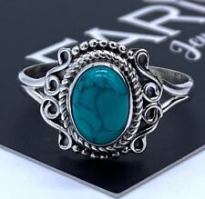 925 Stamped Sterling Silver Ladies Turquoise Oval Ring Gemstone Jewellery Gift