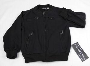 Unisex Black Fleece Lined Jacket with Stylish Zipper Closures Sizes 4 to 14