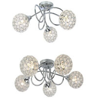 Modern Polished Chrome 3 / 5 Way Flush Ceiling Light Fitting Sphere Jewel Shades