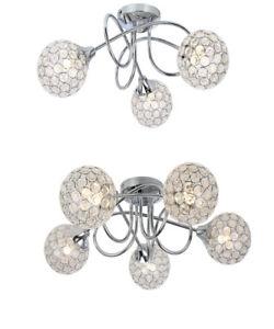 Modern Polished Chrome 3 / 5 Way Flush Ceiling Light Fitting Sphere Jewel Shades