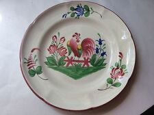 Plate French Faience Saint Clement Rooster and Flowers Plate c.1961