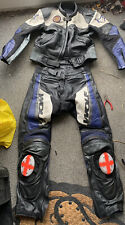Wolf motorcycle Racing leathers 2 PIECE BLACK /BLUE/SILVER COLOUR