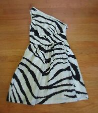 Tibi One Shoulder Dress 4 Animal Print Wool Fit & Flare Cocktail Zebra